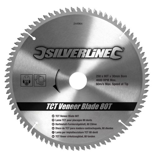Silverline 244964 TCT Veneer Circular Saw Blade 80 Teeth 250mm x 30mm